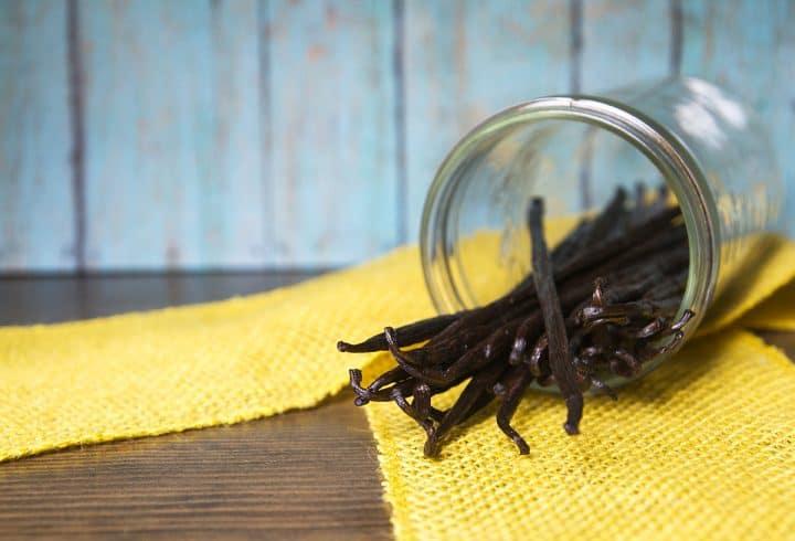 Vanilla beans in a mason jar