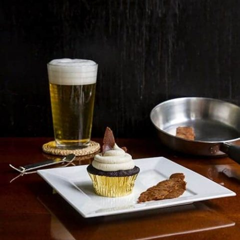 Vegan Maple Bacon PBR Cupcakes