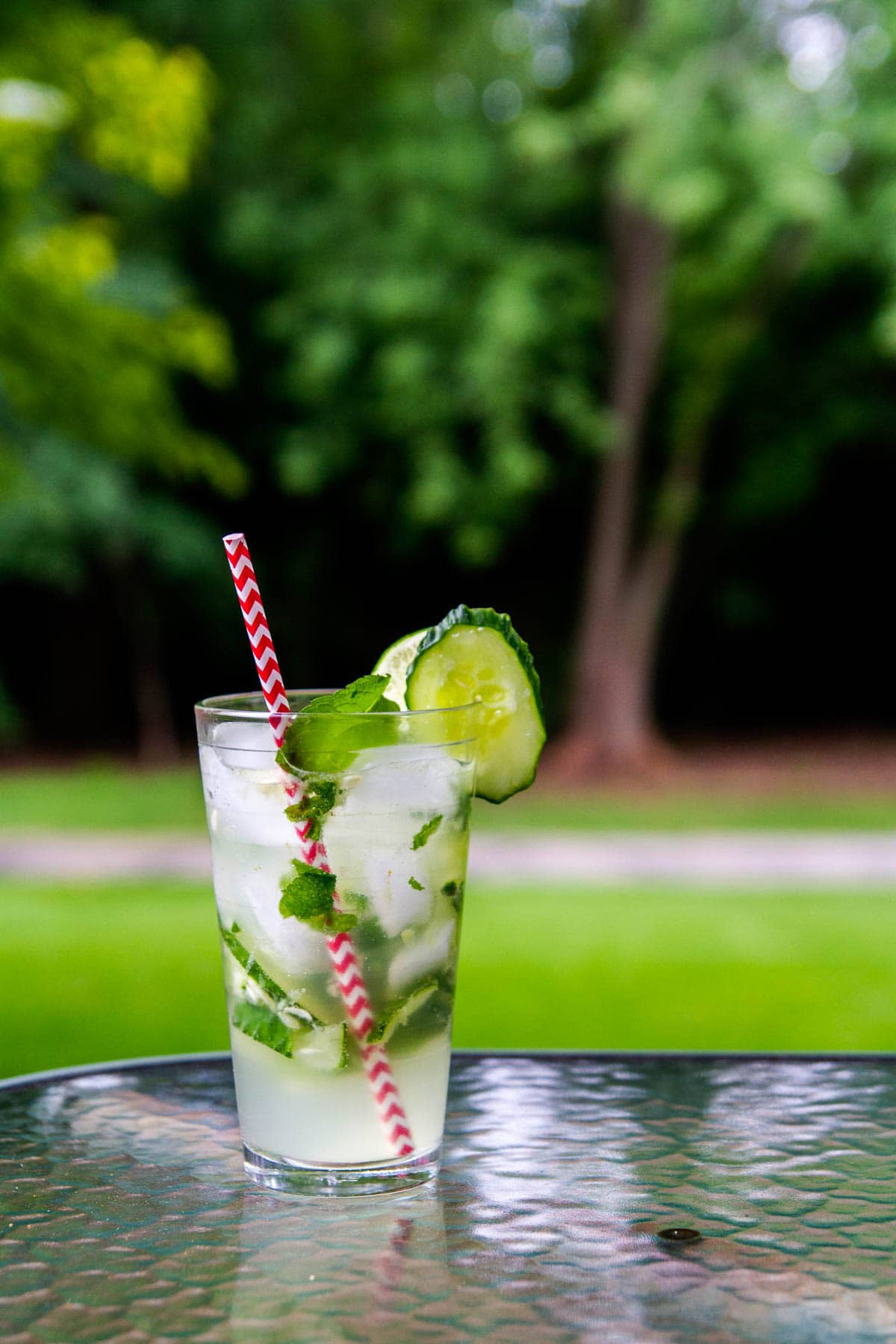 Cucumber mojito with homemade cucumber vodka
