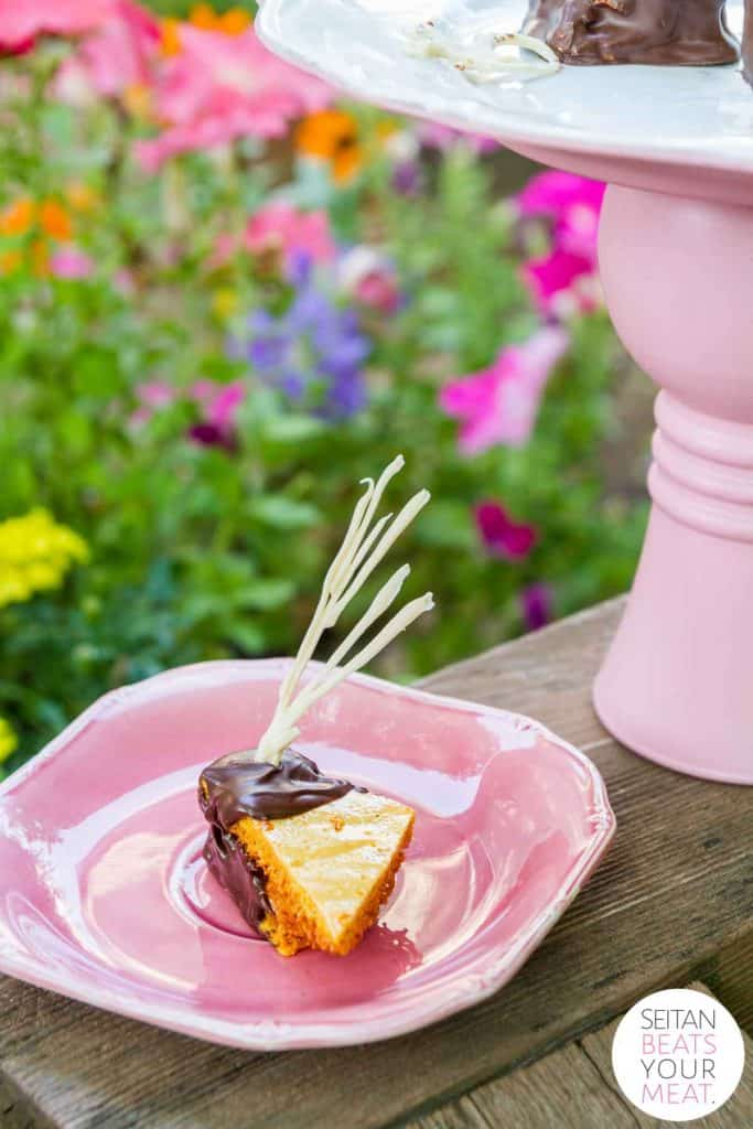 Fairy food candy on pink plate with flowers in background