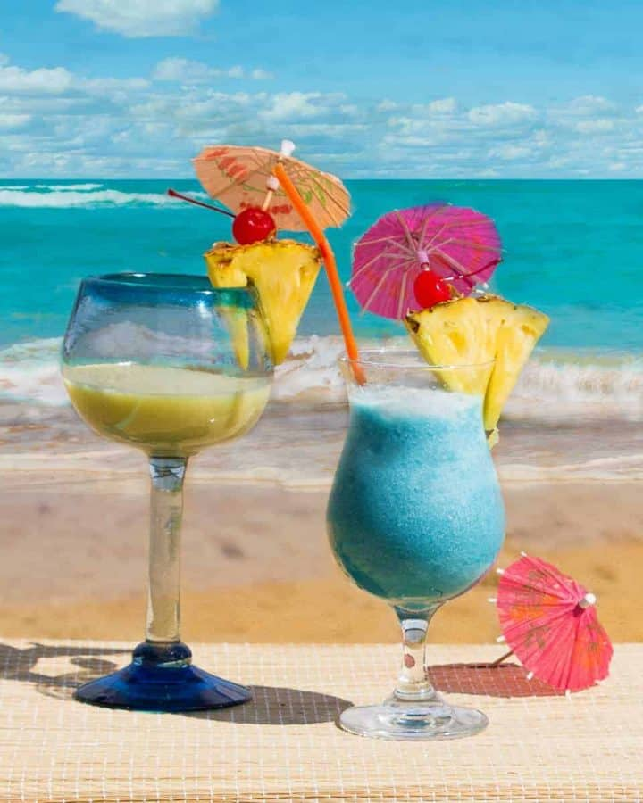 Tropical cocktails on beach