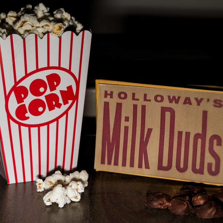 Box of Milk Duds and popcorn