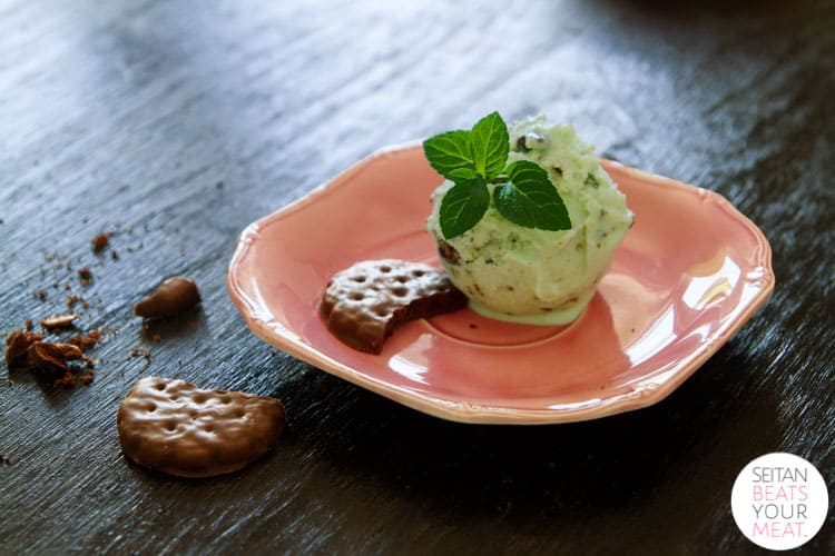 Mint ice cream on pink plate
