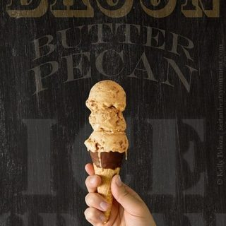 Vegan Butter Pecan Ice Cream with Vegan Bacon