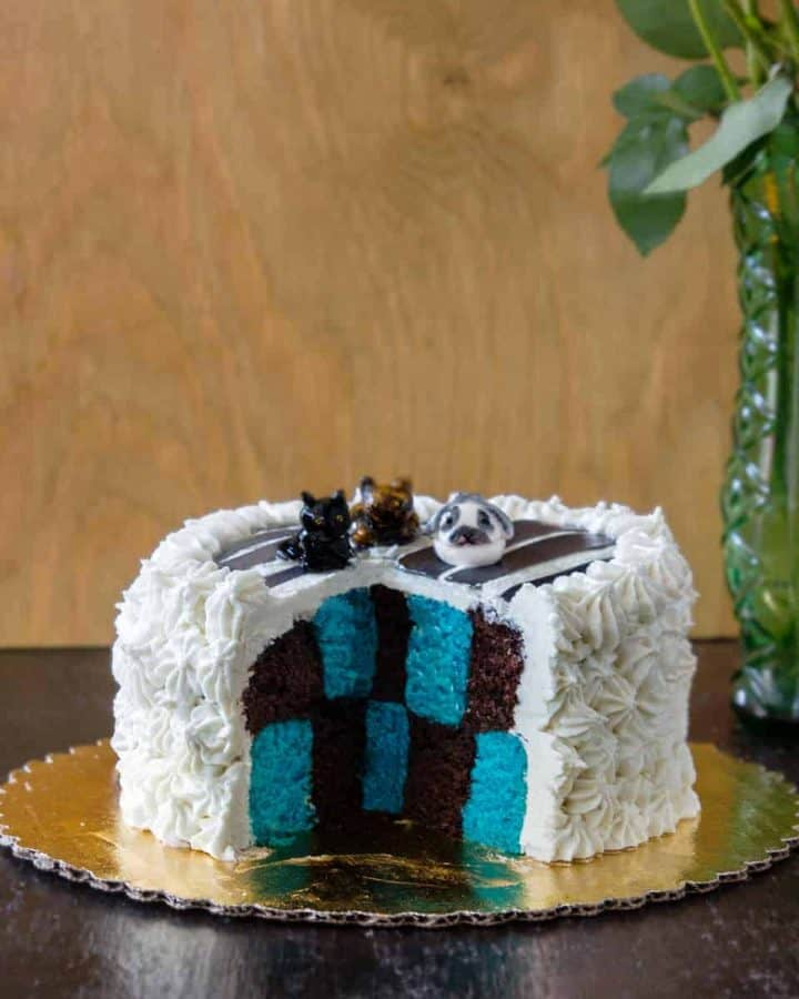 Blue and brown checkerboard cake on table