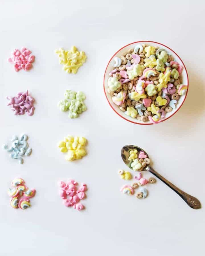 Bowl of vegan Lucky Charms with marshmallows