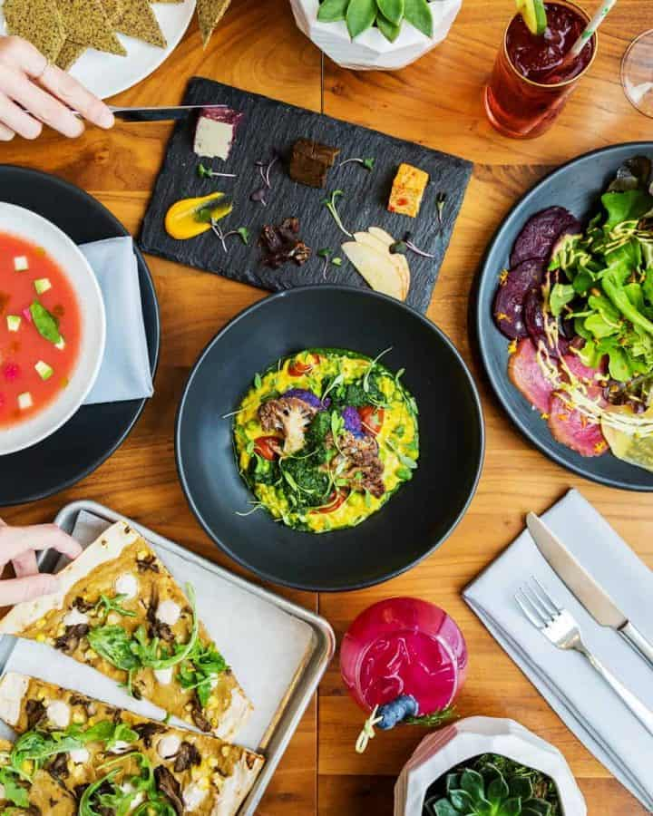 Overhead shot of dishes at ALTHEA Chicago restaurant