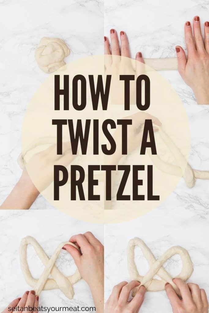 Hands demonstrating the steps to twisting a soft pretzel