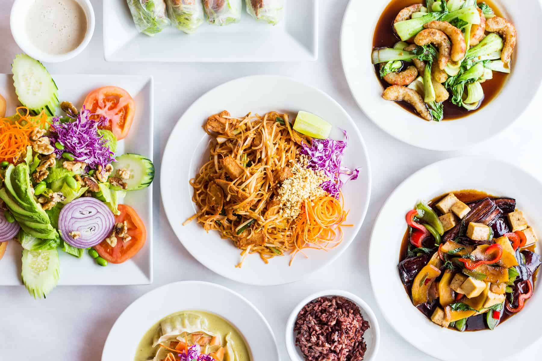 Overhead photo of Pad Thai and other vegan Thai food at Urban Vegan