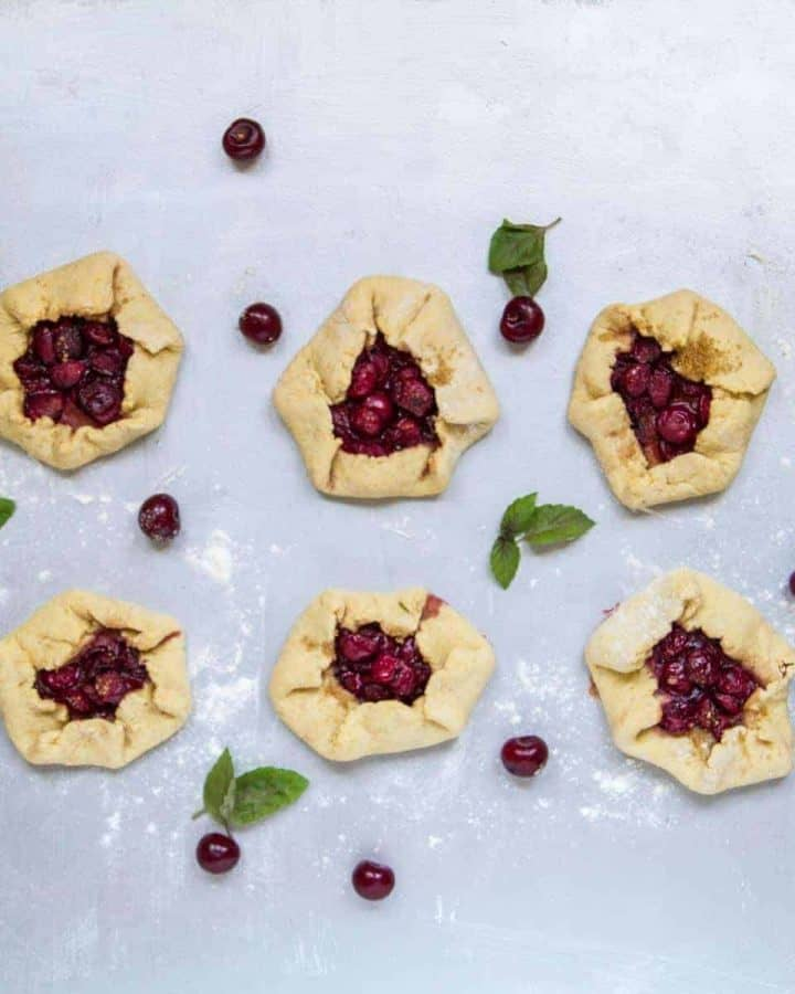 Cornmeal crust tart cherry galette recipe