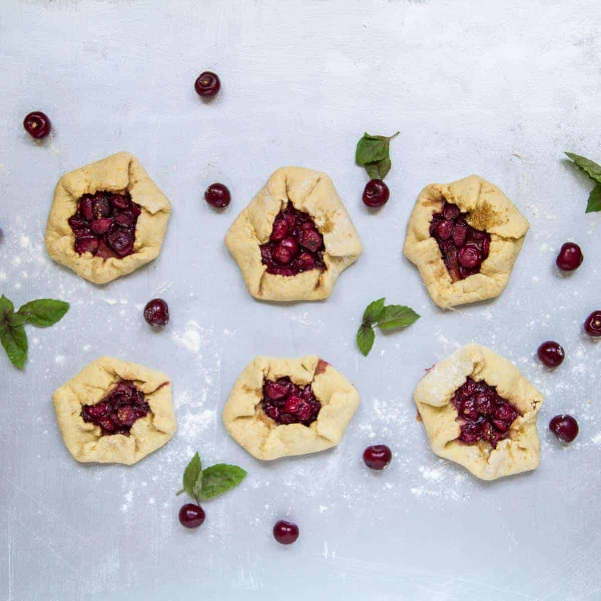 Cornmeal crust tart cherry galette recipe
