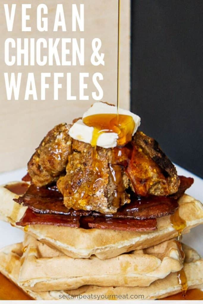 Close up photo of vegan chicken and waffles with text