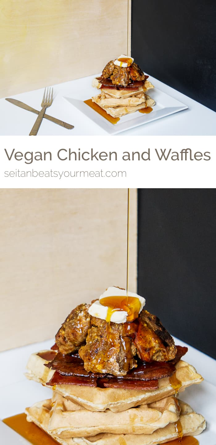 Vegan chicken and waffles recipe with Upton's Naturals seitan