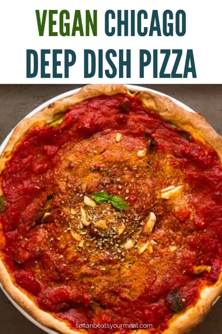 Overhead image of vegan deep dish pizza
