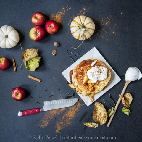 Apple Pie Pancakes with Whipped Topping
