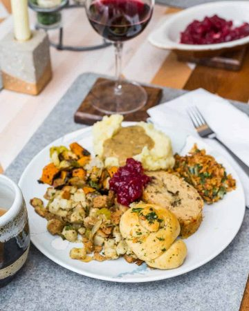 Thanksgiving dinner plate on set table