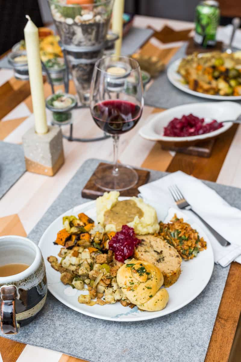 Vertical image of Thanksgiving dinner table