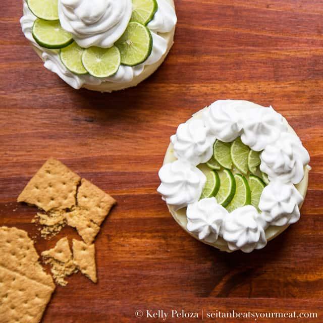 Florida Keys vegan mini key lime pies with aquafaba meringue whipped topping
