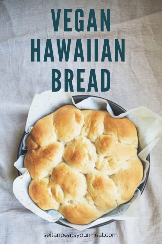 Pan of Hawaiian bread rolls on ivory tablecloth