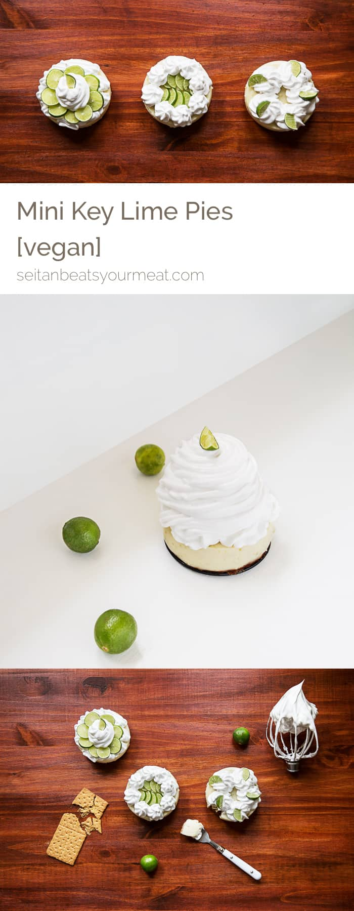 Vegan mini key lime pies with aquafaba whipped topping | Seitan Beats Your Meat