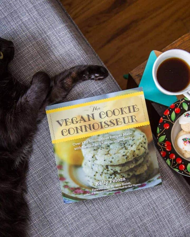 Copy of cookbook on couch with cat, cookies, and coffee