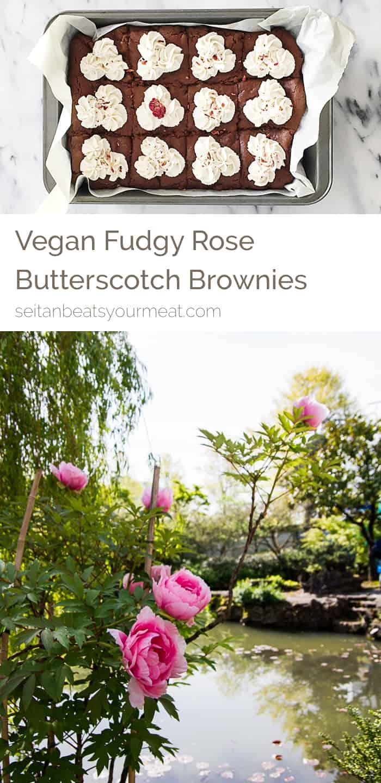 Vegan fudgy rose butterscotch brownies on Seitan Beats Your Meat
