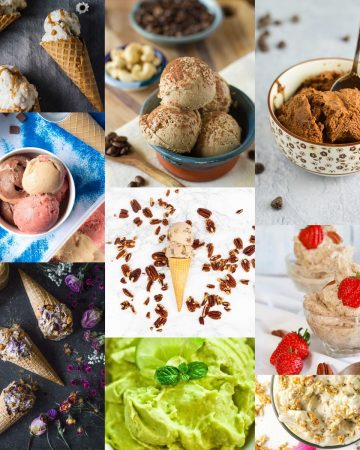Collage of vegan ice cream photos