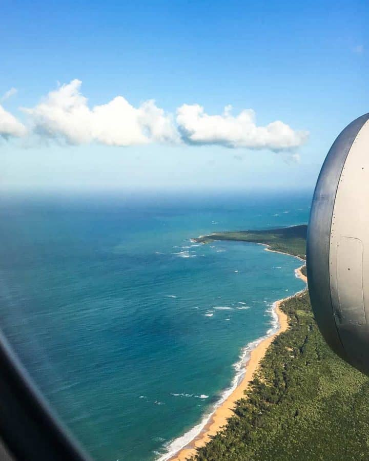 Atlantic Ocean shoreline out plane window