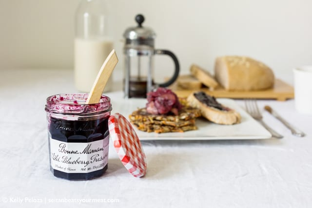 Bonne Maman Wild Blueberry Preserves with breakfast plate in background