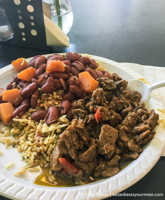 Plate of vegan Puerto Rican food at El Punto Vegano in San Juan