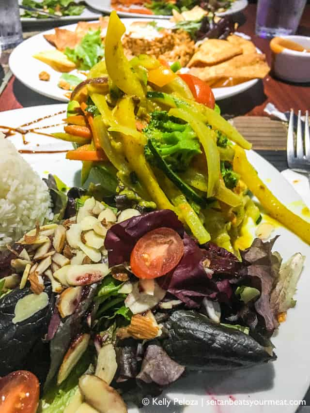 Plate of salad and vegetables at restaurant