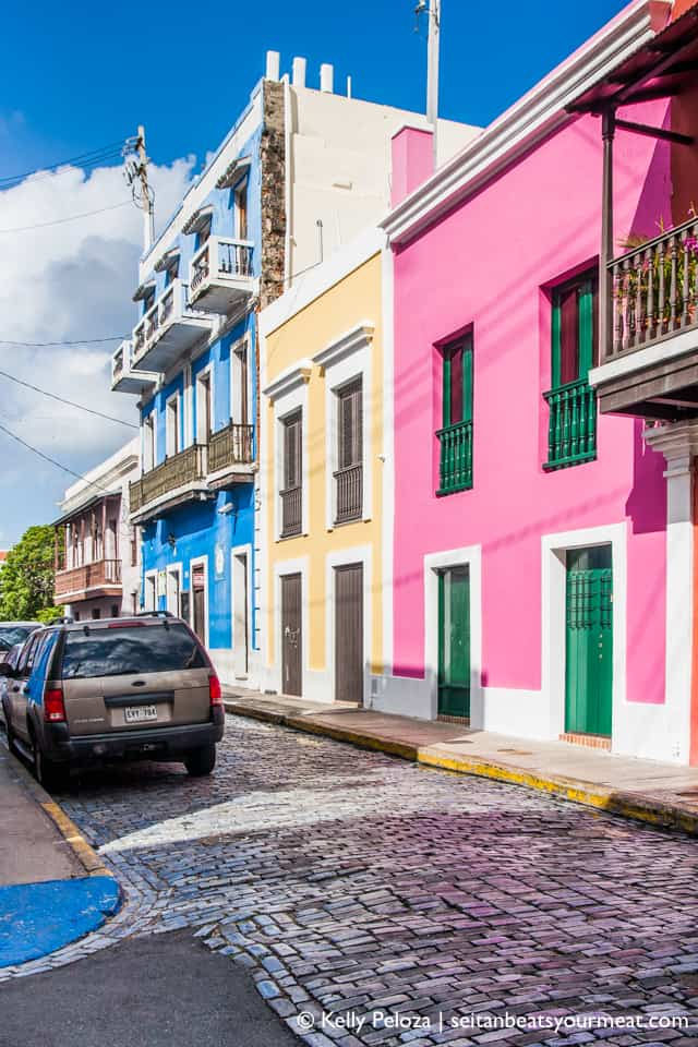 Colorful buildings and blue cobblestone in Old San Juan Puerto Rico