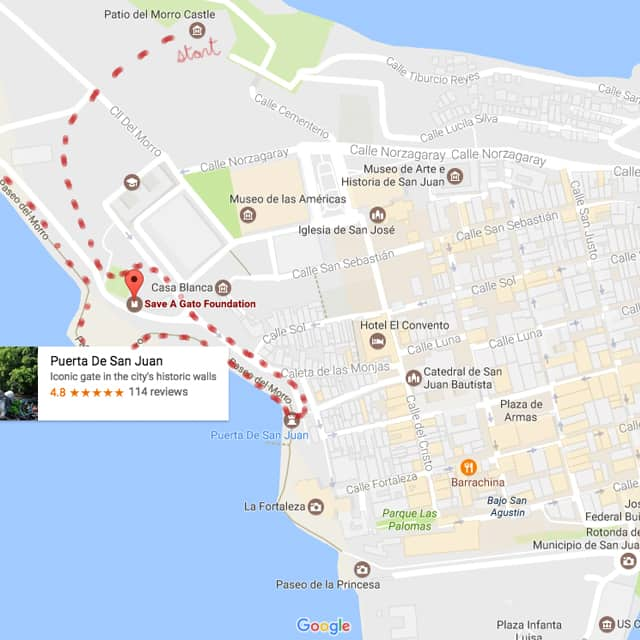 Map of Save A Gato cats in Old San Juan