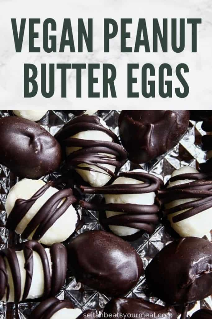 Close up chocolate covered peanut butter eggs on glass plate