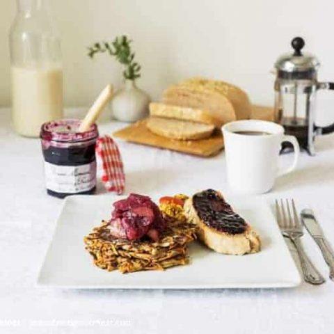 Potato Pancakes with Wild Blueberry Apple Chutney and Tofu Scramble