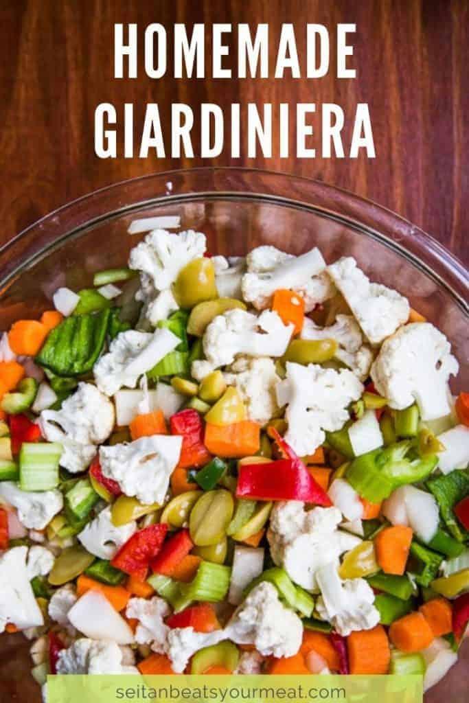 Close up of bowl of giardiniera