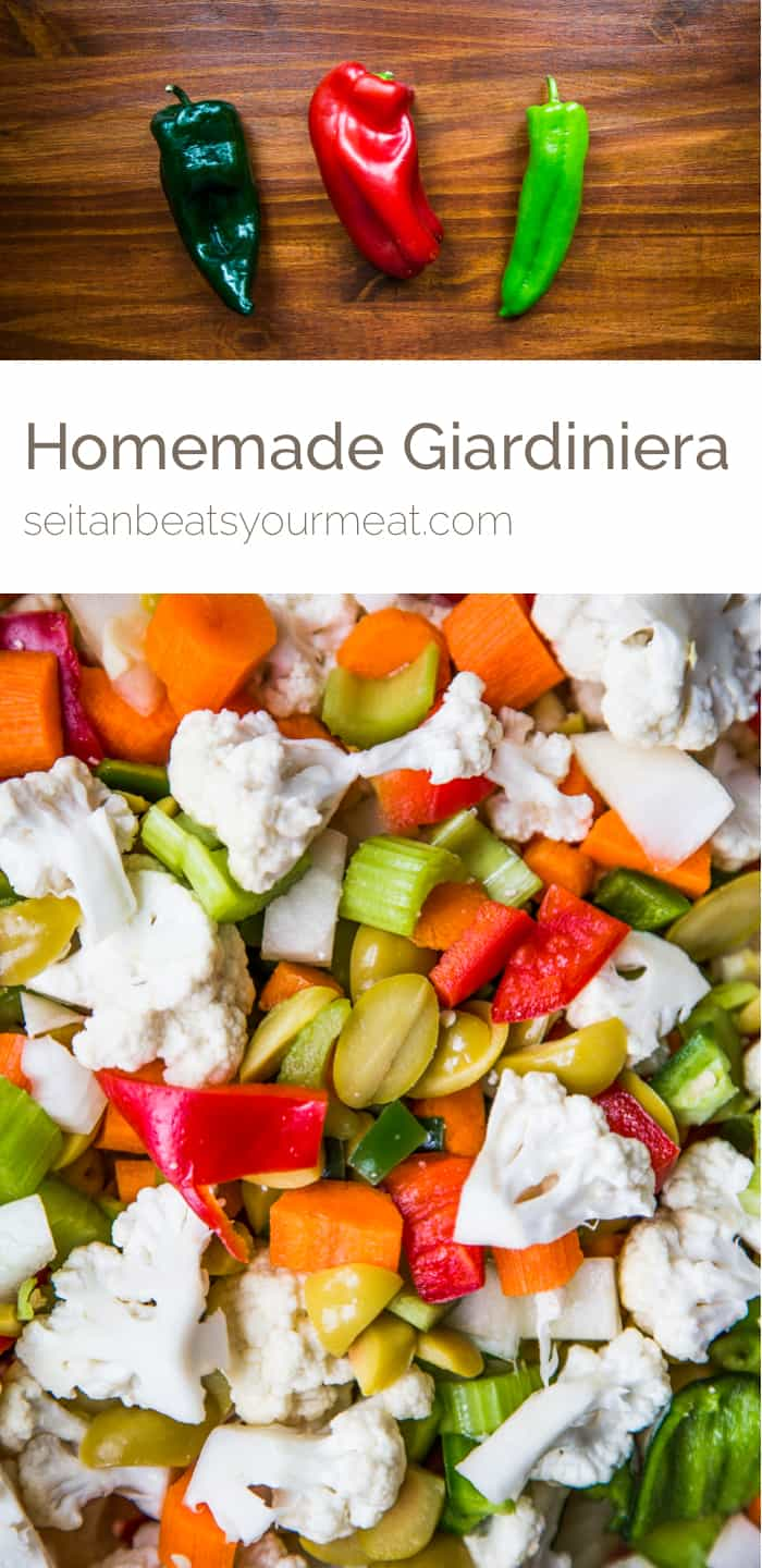 Close up of giardiniera and peppers