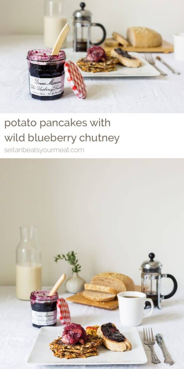 Overhead image of potato pancakes on plate on set table with white tablecloth