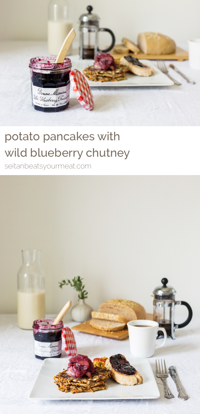 Vegan Potato Pancakes with Wild Blueberry Apple Chutney | Get the recipe on Seitan Beats Your Meat