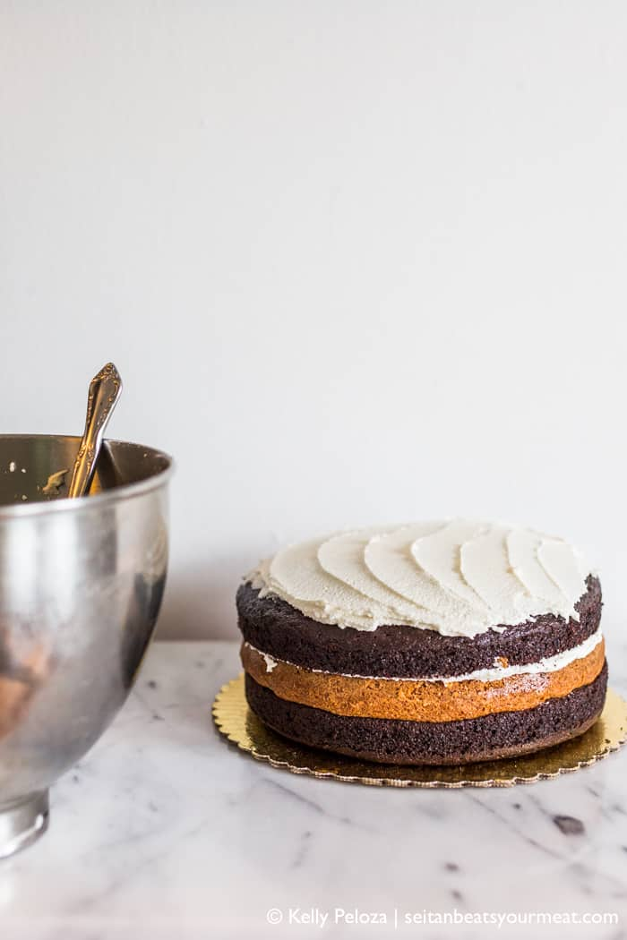 Chocolate Bourbon Cake With Caramel Frosting