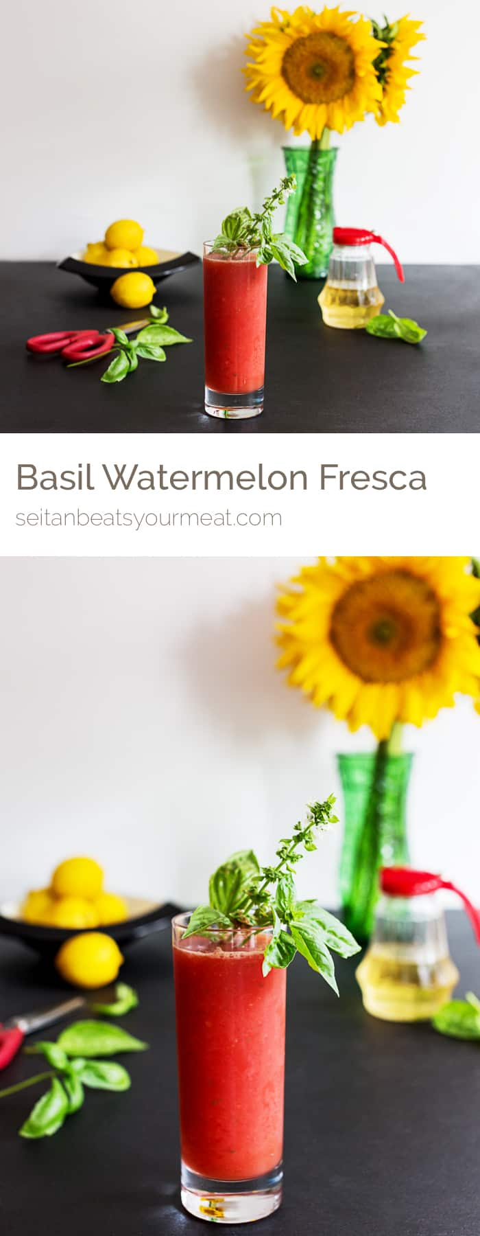 Watermelon agua fresca in glass with fresh basil garnish with flowers and lemons in background