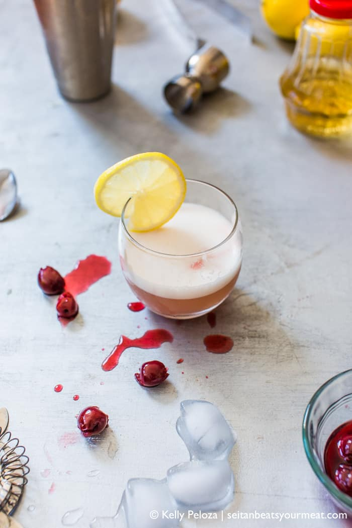 Easy, vegan whiskey sour recipe using aquafaba in place of egg whites
