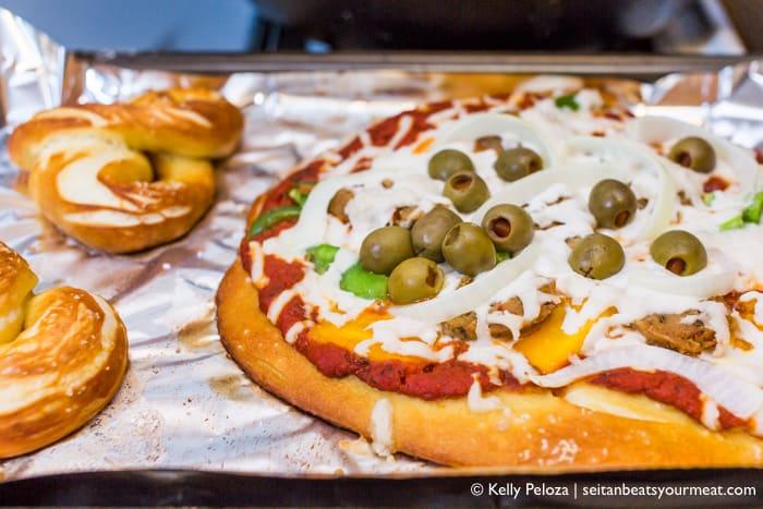 Vegan pretzel crust pizza recipe