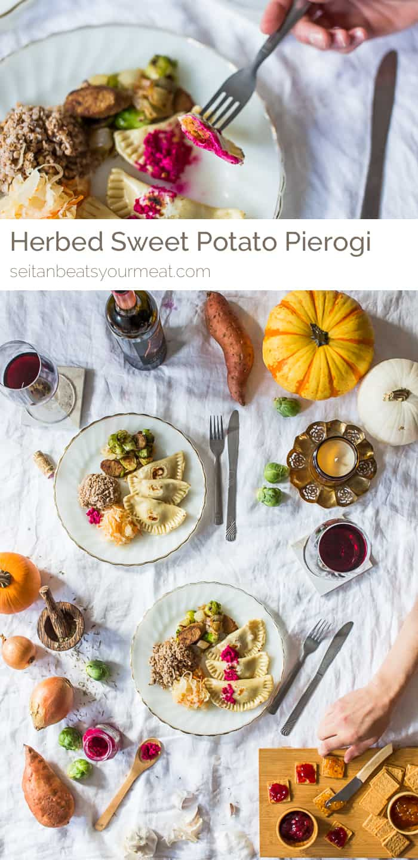Vegan sweet potato pierogi with kasha and vegan kielbasa