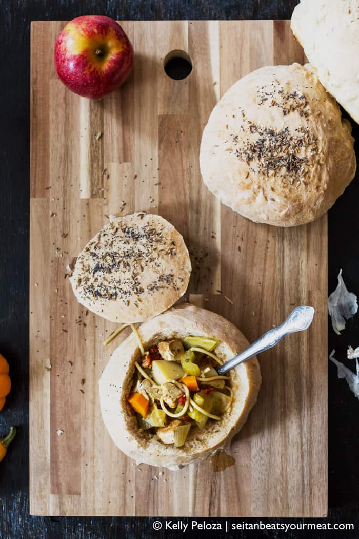 Vegan tofu noodle soup with homemade bread bowls