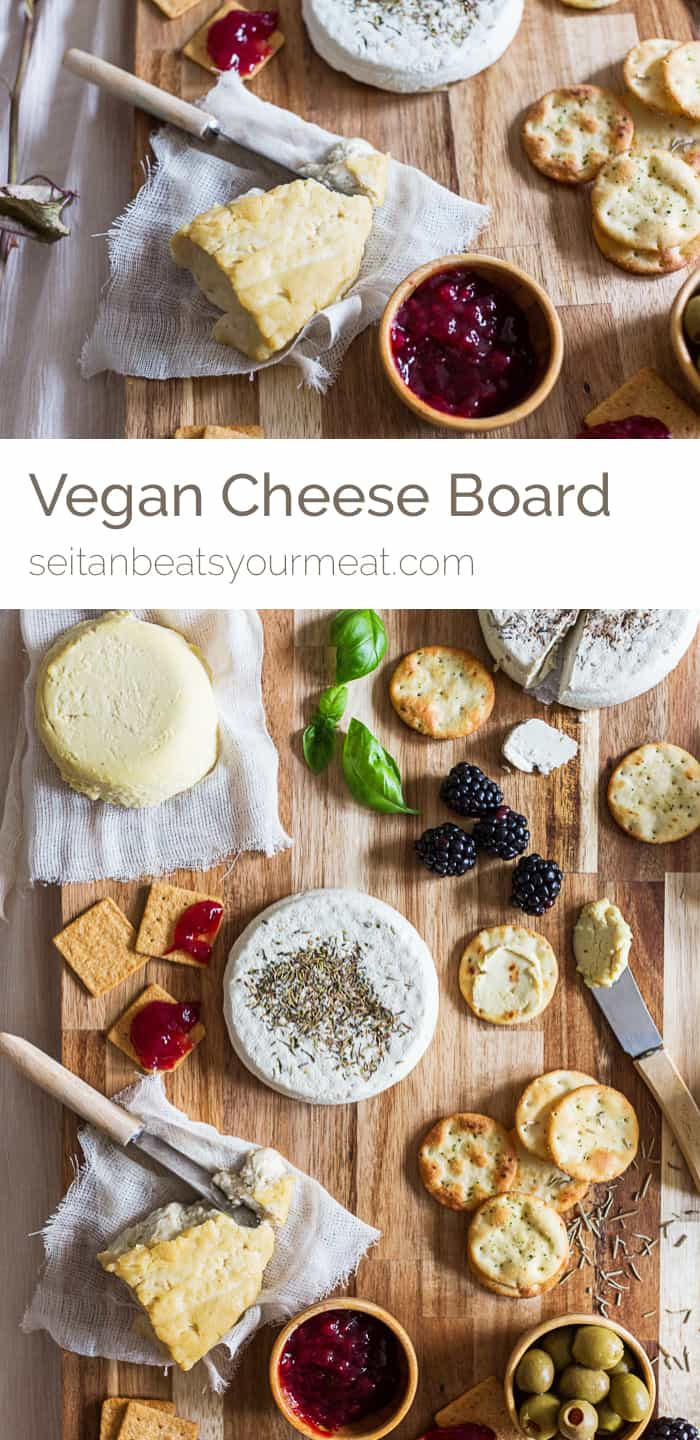 "Overhead image of cheese board with text ""Vegan cheese board"""