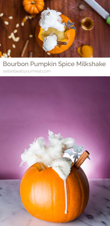Delicious vegan pumpkin spice milkshake with bourbon