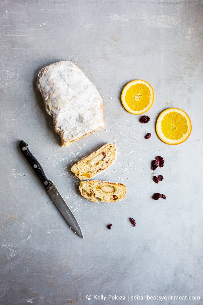Vegan Stollen recipe overhead shot with orange slices and dried fruit