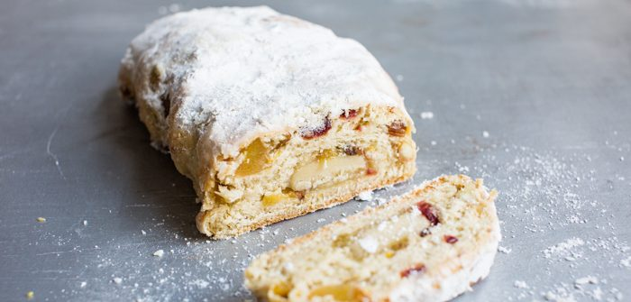 Inside of vegan stollen loaf with homemade marzipan