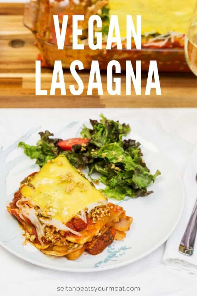 Photo of plated vegan lasagna on white tablecloth